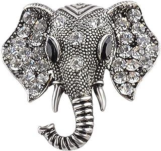 PULABO Broche con diseño de cabeza de elefante con diamantes de imitación, ideal para decorar el sombrero y el cuello.