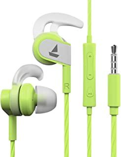 boAt Bassheads 242 Wired Sports Earphones with HD Sound, 10 mm Dynamic Drivers, IPX 4 Sweat and Water Resistance, Superior Coated Cable & in-Line Mic (Spirit Lime)