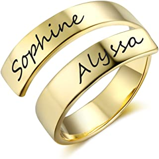 Personalized Spiral Twist Ring Engraved Names BFF Personalized Gift Mother-Daughter Promise Ring for Her