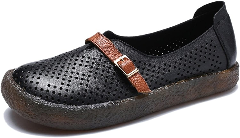 HUAN Woherrar skor läder Springaa Flat Loafers Loafers Loafers Hollow for Office och biler Dress svart, vit  den nyaste