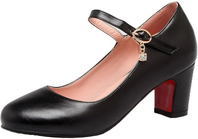 AmoonyFashion Women's Buckle Kitten-Heels PU Solid Round-Toe Pumps-shoes