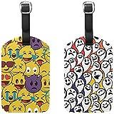 Conjunto de 2 emoticonos E-moji Etiquetas de Equipaje de Cuero de la PU Etiquetas de Maleta de Viaje Etiquetas de identificación