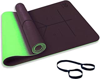 LIFEWAY Yoga Mat - All-Purpose 6mm Thick High Density Non-Slip Double-Sided TPE Yoga Mat with Carrying Strap - Eco-Friendl...