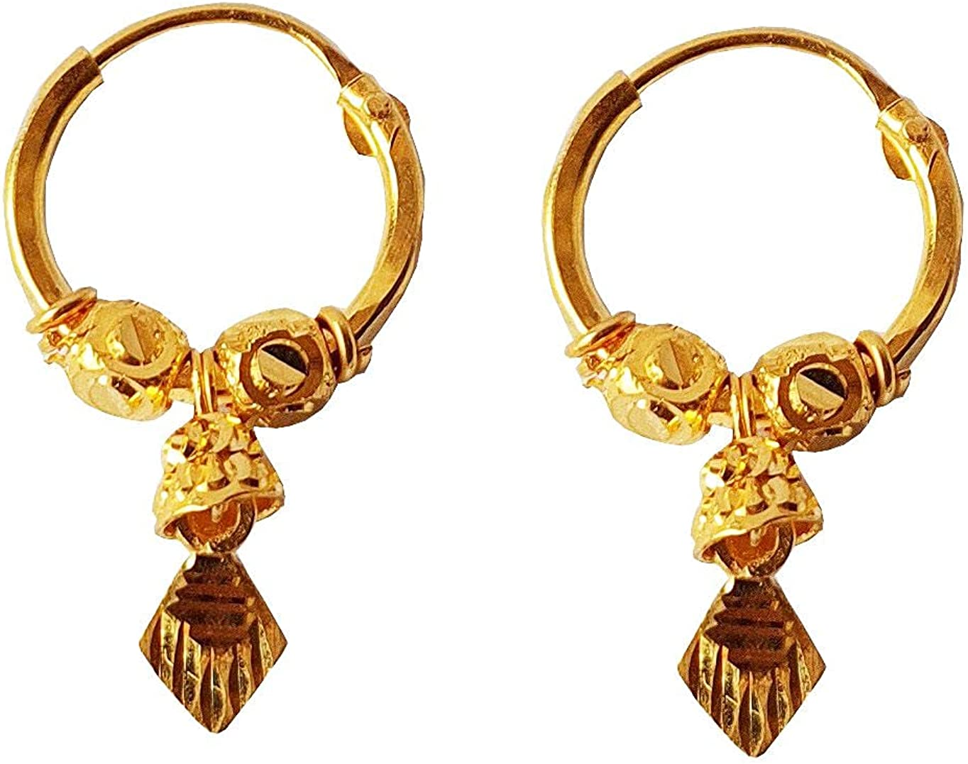 Certified Solid 22K/18K Yellow Fine Gold Unique Carved Design Hoop Earrings Available In Both 22 Carat And 18 Carat Fine Gold, For Women,Girls,Kids,Gifts,Bridal,Wedding,Engagement & Celebrations