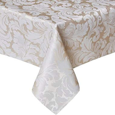 ColorBird Scroll Damask Jacquard Tablecloth Polyester Fabric Water Resistant Spillproof Table Cover for Kitchen Dinning Wedding Banquet Party Tabletop Use (Rectangle/Oblong, 60 x 120 Inch, Beige)