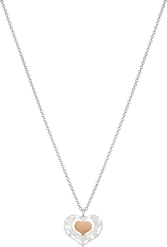 Stroili   collana girocollo per donna con  cuore in ottone bicolore e glitter 1650693