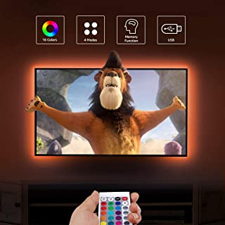 """LE LED Strip Lights, 6.56 USB TV Backlights with RF Remote, Dimmable RGB Mood Lights, SMD 5050 Bias Lighting for 32-65"""" TVs, Computer, Mirror, Gaming Monitor and More (4 x 50cm) [Energy Class A+]"""
