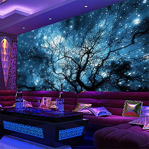 Hwhz Benutzerdefinierte 3D Fototapete Moderne Abstrakte Kunst Blau Sternenhimmel Bäume Wohnzimmer Tv Hintergrund Wanddekoration Wandbild Wohnkultur-250X175Cm