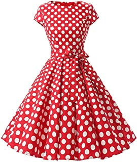Women's Vintage Polka Dot 1950s Audrey Retro Rockabilly Prom Dress 50's 60's A-Line Cocktail Party Swing Dress