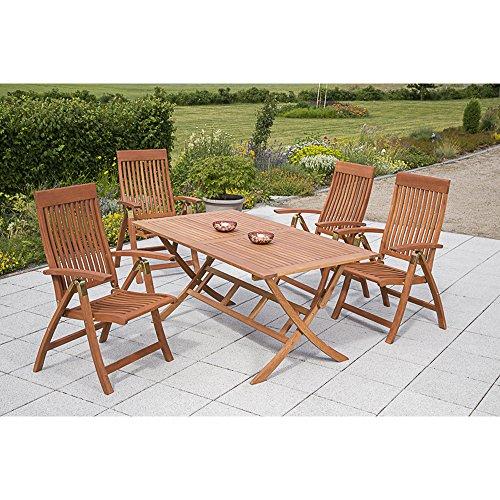 MERXX Gartenmöbel-Set Rom 5-tgl. aus Eukalyptusholz, Klappsessel 5-fach verstellbar und Klapptisch