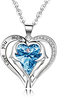 Love You Mom Heart Pendant Necklace with Angle Wing CZ...
