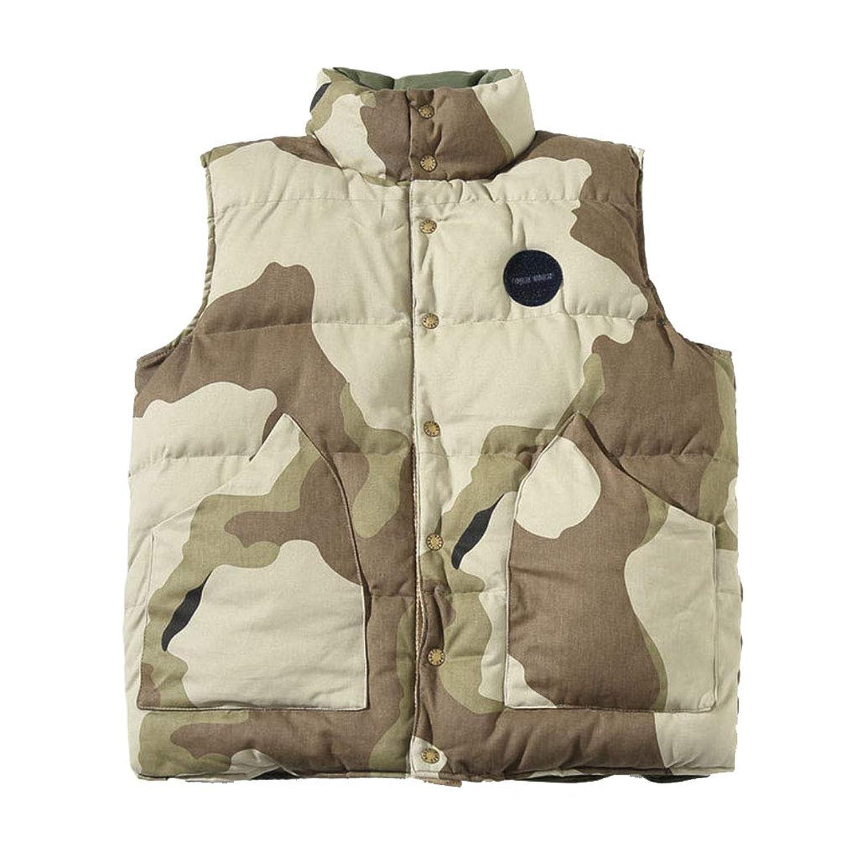 タンクトップ ベスト - 冬メンズコットンベスト - カモフラージュルーズコットンベスト - ノースリーブジャケットカジュアルベスト - カップルジャケット - 前後のウエア (Color : Green, Size : XL)