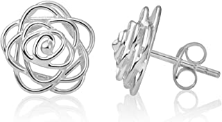 SUVANI Sterling Silver Open Wire Rose Flower Design Small Post Stud Earrings 11 mm