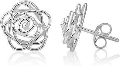 925 Sterling Silver Open Wire Rose Flower Design Small Post Stud Earrings 11 mm