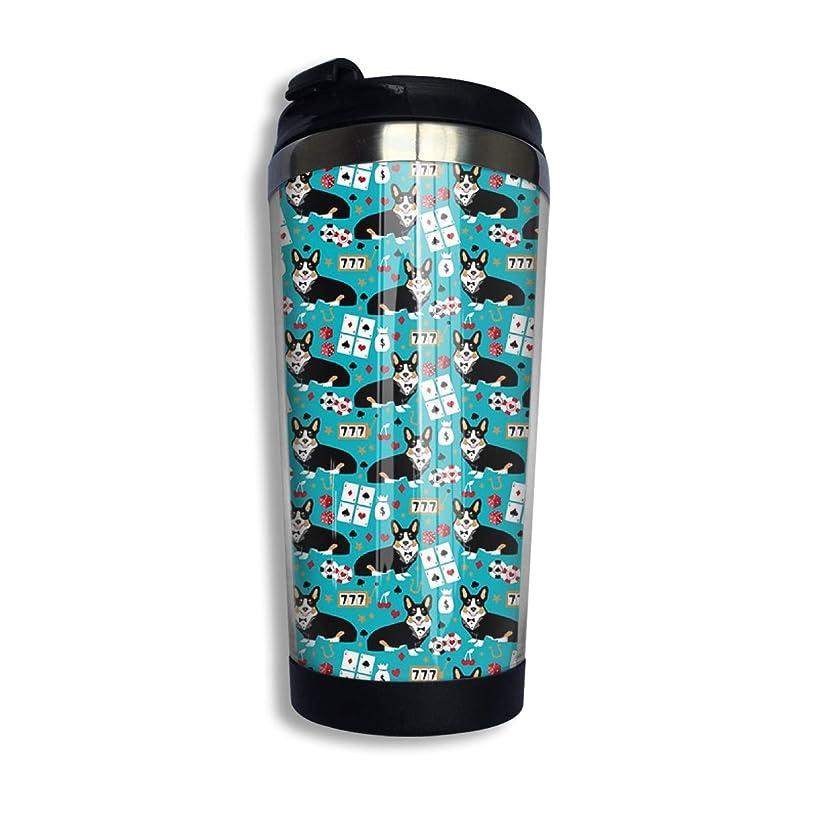 Corgi Casino Fabric Stainless Steel Coffee Cup with Lid Travel Mug Tumbler