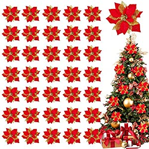 TURNMEON 36 Pack Glitter Poinsettia Christmas Flowers Decorations Christmas Tree Ornaments, Glitter Gold 4″ Artificial Silk Flowers Picks Decor Wreath Garland Holiday (Rose)