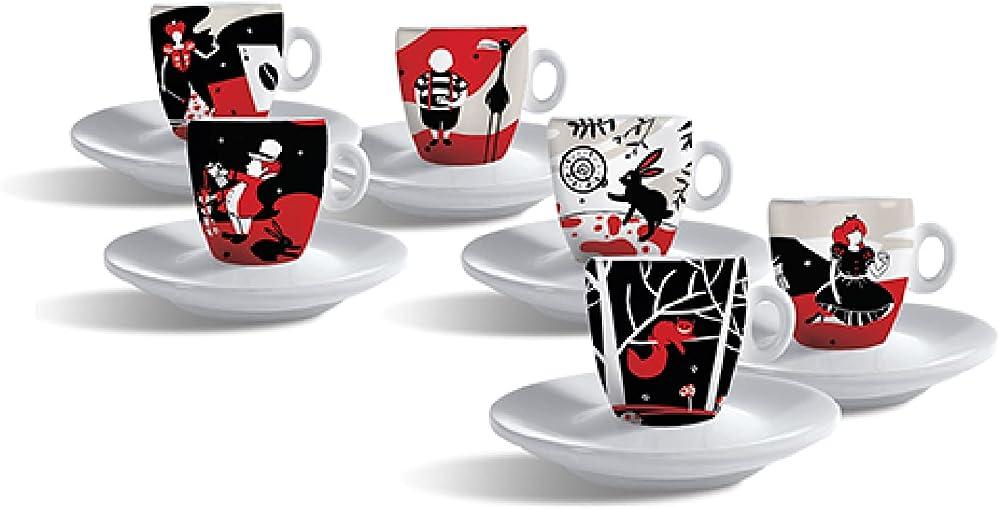 Caffe molinari, set 6 tazze da caffè - in porcellana , con piattini 10078