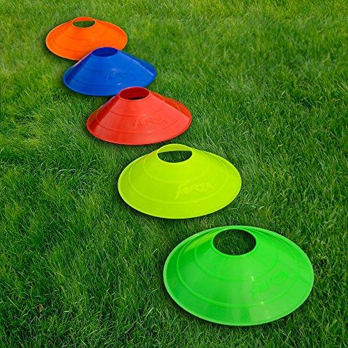FORZA Marker Cones [50 Pack] - Multi Sport Training Space Cones & Stand (Multi Colour)