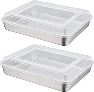 12.3 Inch Baking Lasagna Pan with Lid, P&P CHEF Rectangular Cake Pan Stainless Steel and Airtight Plastic Lids, Ideal for ...