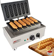 Hot Dog Waffle Maker Commercial 6 PCS Lolly French Hotdog molds 110v | Stainless Steel Crispy Baking Corn Dog, Sausage Waffles Non-Stick MakerMachine Electric Muffin by ALDKitchen (Hot Dog)