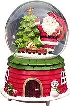 chora Christmas Snow Globe Music Box Caja musical giratoria de Santa Claus con copos de nieve cayendo Música para regalos de decoración navideña cosy