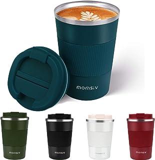 MOMSIV Tasse de café isolée, Tasse à café Isotherme à Double paroi,Mug de Voyage avec Couvercle Rabattable Tasse a Café ou...