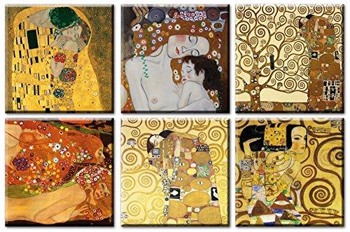 time4art Gustav Klimt Print Canvas 6 Bild 6 x 50x50cm Baum des Lebens Kuss Tree of Life Adele Bloch Bauer Leinwand