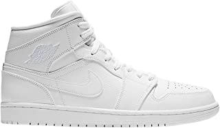 d7b8b328f Jordan Mens Air Jordan 1 Mid Leather Synthetic White Trainers 10 US