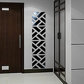 32PC 3D Mirror Acrylic Wall Sticker DIY Art Vinyl Decal Home Decor Removable Acrylic Mirror (Black)