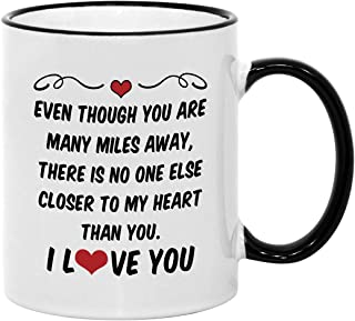 Long Distance Relationship Gifts for Boyfriend or Girlfriend. 11 oz Valentines Couples Coffee Mug. Gift Idea for Him/Her o...