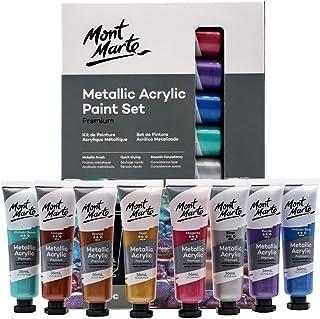 Mont Marte Premium Metallic Acrylic Paint Set, 8 x 1.02oz (36ml) Tubes, 8 Colors, Suitable for Most Surfaces Including Can...