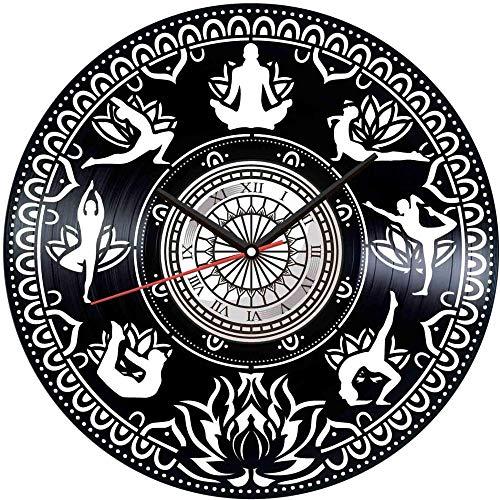 GVSPMOND Reloj de Pared con Disco de Vinilo, Reloj de Pared de Estilo Retro de Yoga, decoración del hogar silenciosa, Reloj de Pared artístico único, Regalo Creativo