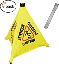 Tiger Chef Commercial 19 1/2 inch Pop-Up Safety Cone with Storage Tube Multi-Lingual Caution Imprint and Wet Floor Symbol, Yellow (8)