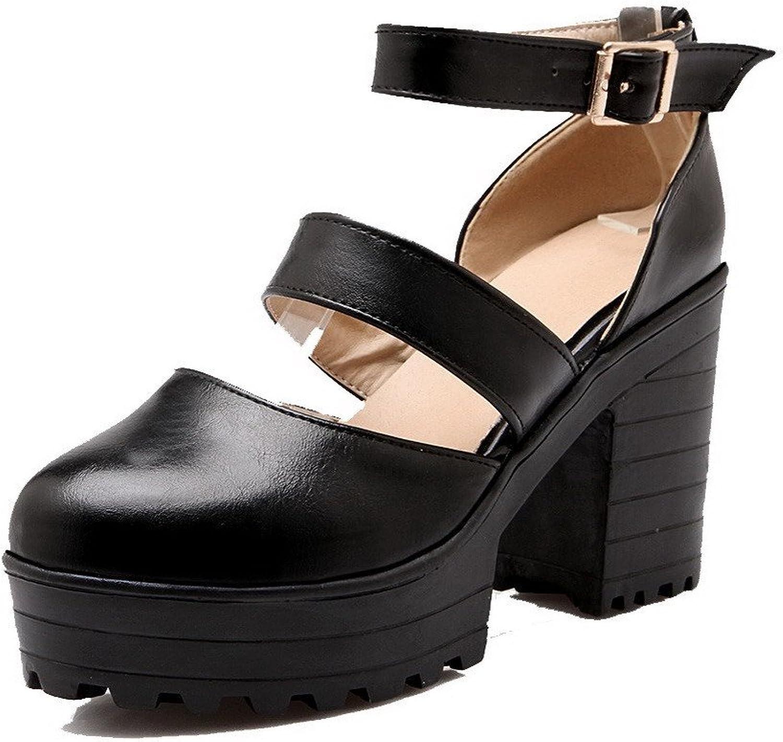 AmoonyFashion Women's Solid PU High-Heels Buckle Round-Toe Pumps