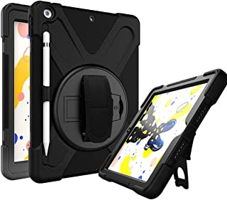 Azzsy iPad 7th Generation Case,iPad 10.2 2019 Case with Pencil Holder,[360 Degree Swivel Stand/Hand Strap] Slim Heavy Duty Shockproof Rugged Protective Case for iPad 10.2 inch 2019 Release,Black