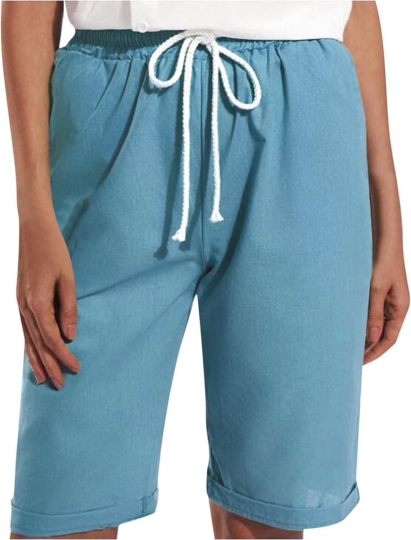 BEUU Women Casual Summer Bermuda Shorts Drawstring with Pockets Cotton Lounge Walking Athletic Lightweight Jersy Shorts