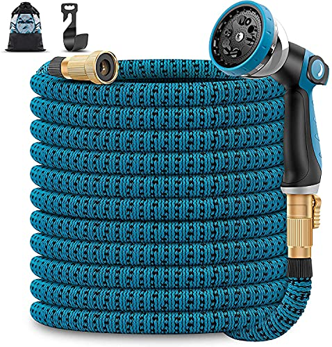 Unywarse 50ft Garden Hose Expandable Water Hose, Expanding Garden Pipe with 10 Function Zinc Nozzle, Solid Brass Fittings, Extra Strength Fabric, Lightweight Flexible Yard Hose for Watering