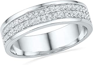 FB Jewels 10K White Gold Womens Round Diamond 2-row Wedding Band Ring 1/5 Cttw Size 7 (Widest point width: 5 mm .2 inches...