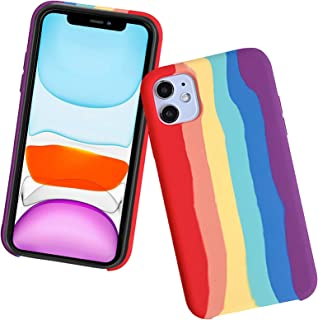 Capa C-Super Mall compatível com iPhone Xs Max 6,5 polegadas, estampa de arco-íris, capa de proteção total de silicone líq...