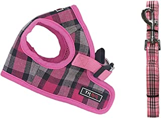 THAIN Step in Dog Harness and Leash Set no Pull Padded Vest Harness Plaid Pattern Walk for Puppy Small Medium Dogs