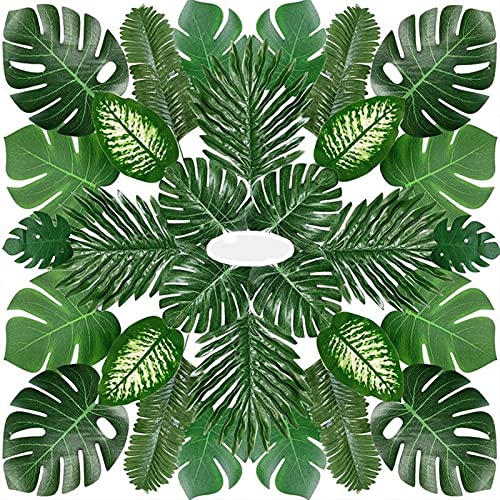 TASJS 68 Pieces Of 8 Tropical Party Decorations, Jungle Monstera Leaves, Artificial Palm Leaves And Artificial Stems, Wedding Banquet Garden Decorations (Color : Green)