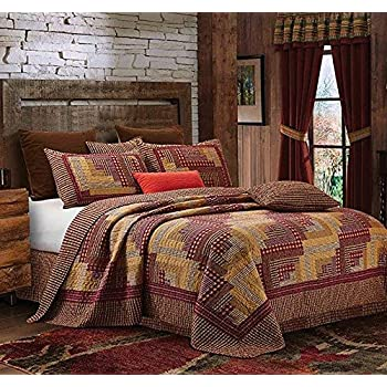 Virah Bella Collection Phyllis Dobbs Montana Cabin: Red/Tan Polyester Full/Queen Quilt Bedding Set with 2 Standard Shams
