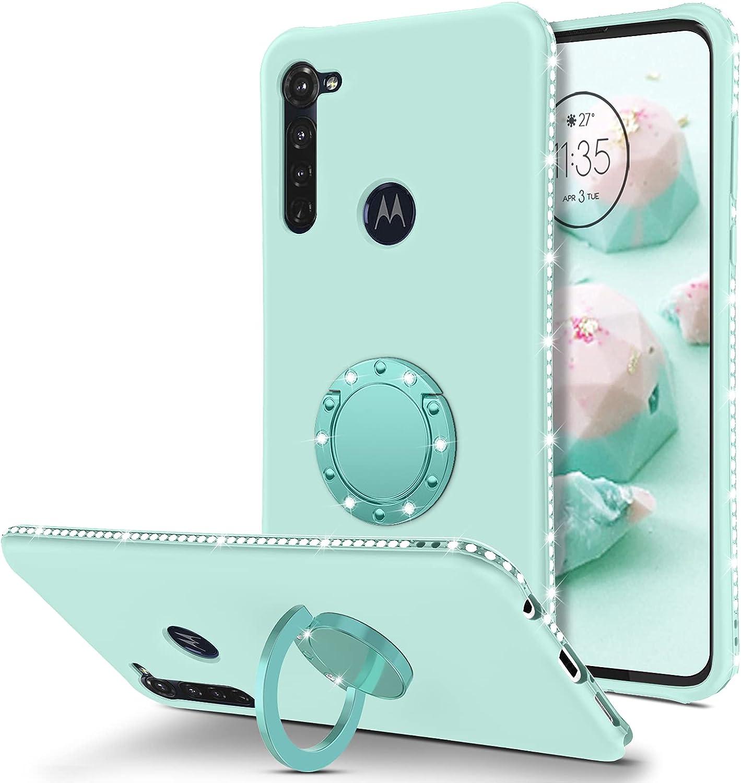 BENTOBEN Moto G Stylus Case, Phone Case Motorola G Stylus 2020, Slim Silicone | 360° Ring Holder Kickstand | Soft Rubber Hybrid Hard Protection Shockproof Bumper Non-Slip Cute Girls Women, Mint Green