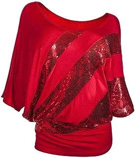 2019 Summer Women Sequin Top Causel T-Shirt Cold Shoulder Blouse Plus Size