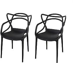 同色2脚セット アウトレット ダイニングチェア 椅子 マスターズ チェア ジェネリック チェア 家具 イス 肘掛け おしゃれ ダイニング インテリア リビング リプロダクト デザイナーズチェア 屋外 (ブラック)