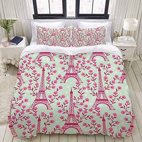 Juego de Funda nórdica, Encantadora Flor Rosa Crema rodeada de Eiffel, Colorido Juego de Cama Decorativo de 3 Piezas con 2 Fundas de Almohada