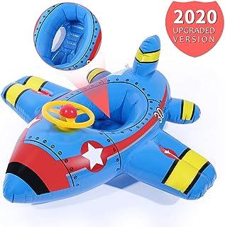 CrazyFire Anillos de Natación Inflables para Bebés, Yate de Avión para Niños Pequeños Asiento de Flotador para Natación para Niños Anillo de Piscina para Niños Pequeños (con Cuerno)