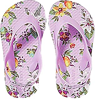 Old Navy Toddler Girls Flip Flops - Beach Water Shoes Sandals with Back Strap (8, Lilac Flower)