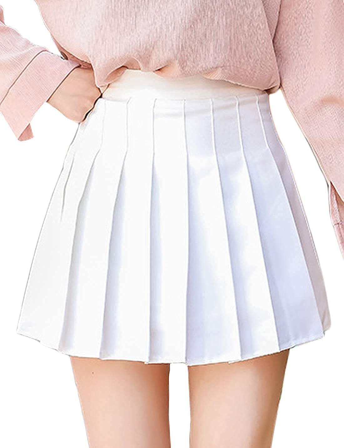 Lazutom Womens Girls Pleated Dennis Skirt High Waist A-Line School Uniform Skater Skirt