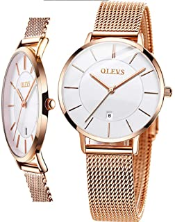 Women's Watch (Luxury Upgrade Version),OLEVS Women's Dress Watches Rose Gold Gold Women Watch,Stainless Steel Mesh Ultra Thin Watches,Fashion Waterproof Ladies Wrist Watch Black White Blue Face